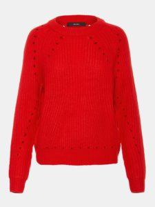 Červený sveter s dierovanými detailmi VERO MODA Jay
