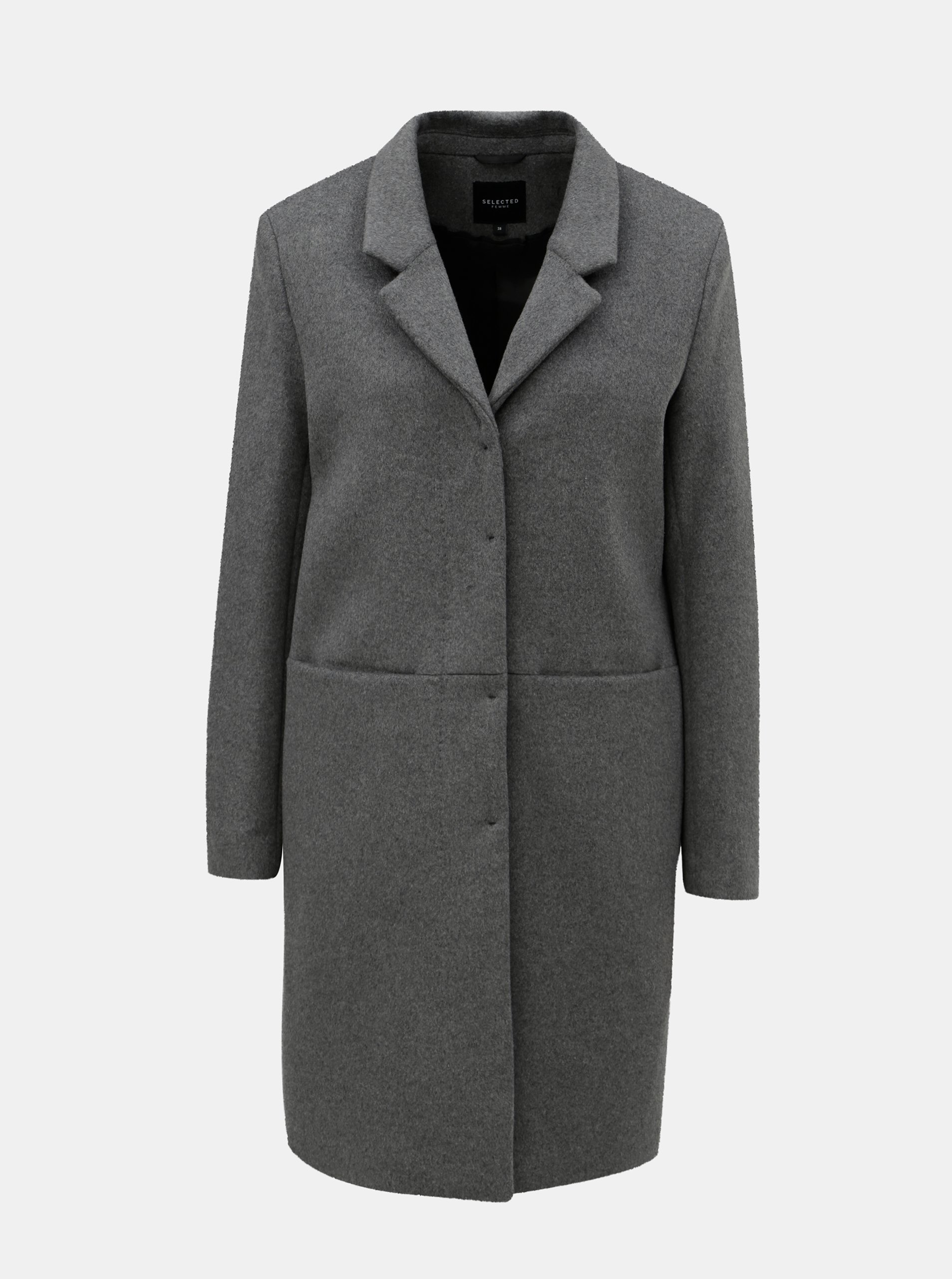 Sivý vlnený kabát Selected Femme Boa  069b6de42f6