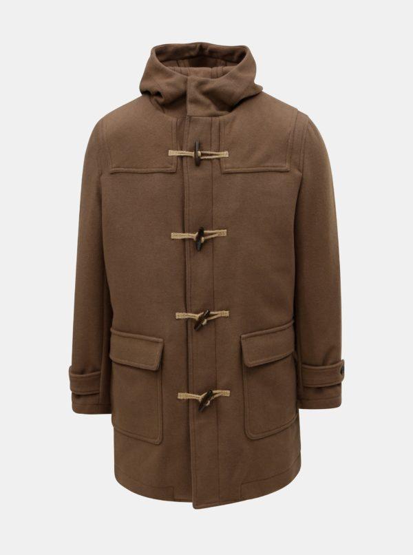 Hnedý kabát s kapucňou a prímesou vlny Selected Homme
