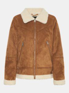 Hnedá bunda v semišovej úprave s umelou kožušinkou VERO MODA Anais