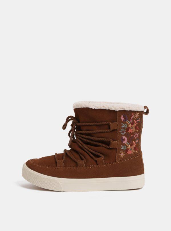 Hnedé dámske semišové zimné členkové topánky s výšivkou TOMS Alpin