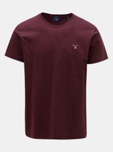 Vínové pánske tričko s krátkym rukávom a výšivkou GANT