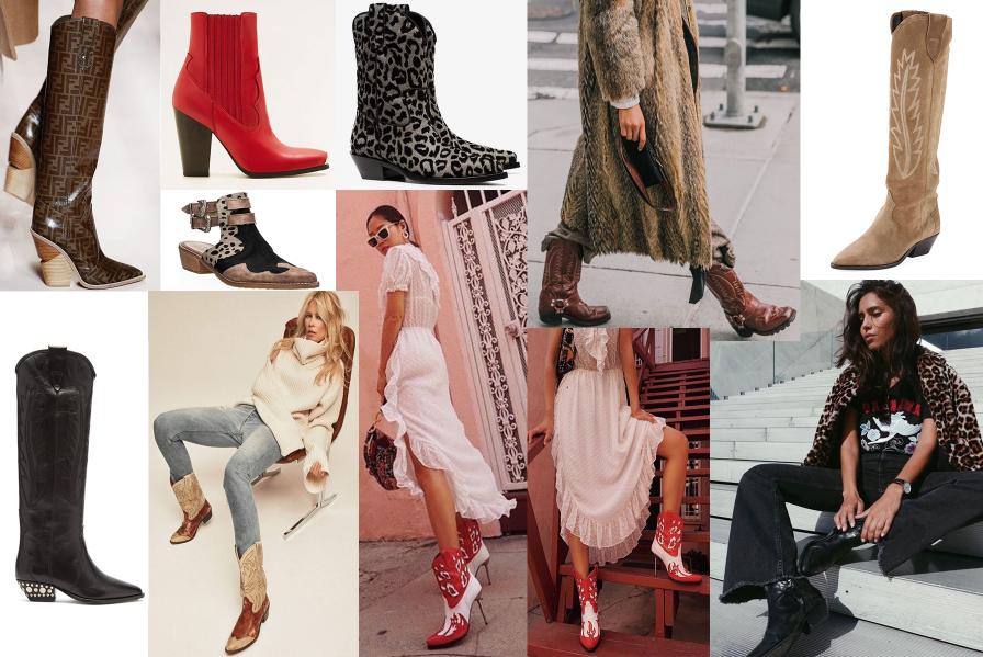 Ukážka rôznych stylingov outfitov s kovbojskými čižmami