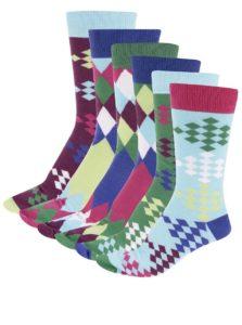 Súprava šiestich farebných panských ponožiek s golfovým vzorom Oddsocks Fore