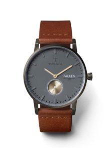 Sivé unisex hodinky s hnedým koženým remienkom TRIWA Walter Falken
