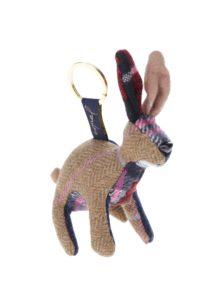 Modro-hnedý dámsky károvaný prívesok na kľúče v tvare zajaca Tom Joule Tweedle Hare