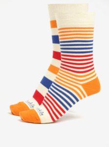 Súprava dvoch pruhovaných unisex ponožiek v krémovej farbe Fusakle Páskavec extrovert