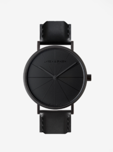 Čierne unisex hodinky s čiernym koženým remienkom a ciferníkom LARSEN & ERIKSEN 41 mm