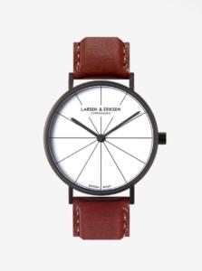 Čierne unisex hodinky s hnedým koženým remienkom LARSEN & ERIKSEN 41 mm
