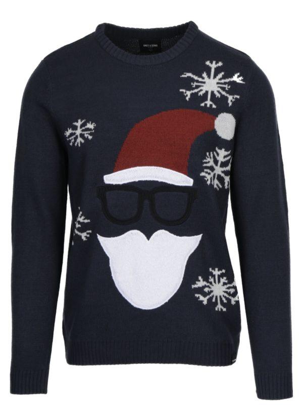 Tmavomodrý sveter s motívom Santa Clausa ONLY & SONS X-MAS
