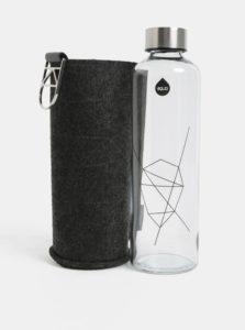 Sklenená fľaša na vodu s viečkom v striebornej farbe EQUA 750 ml