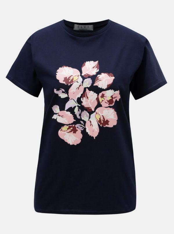 Tmavomodré tričko s potlačou ELVI