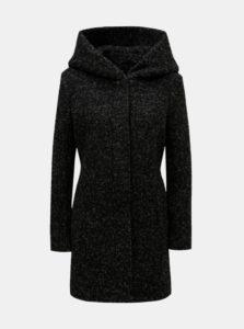 Čierny melírovaný kabát s prímesou vlny ONLY