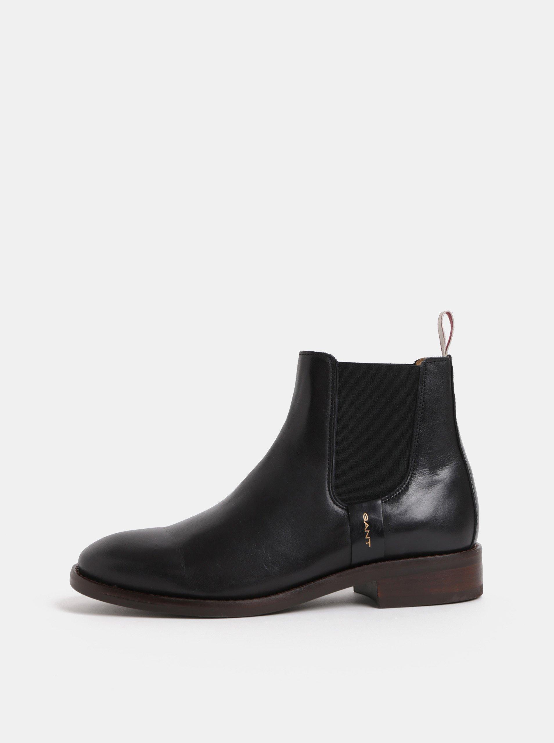 Čierne dámske kožené chelsea topánky GANT Fay  432149a1aee