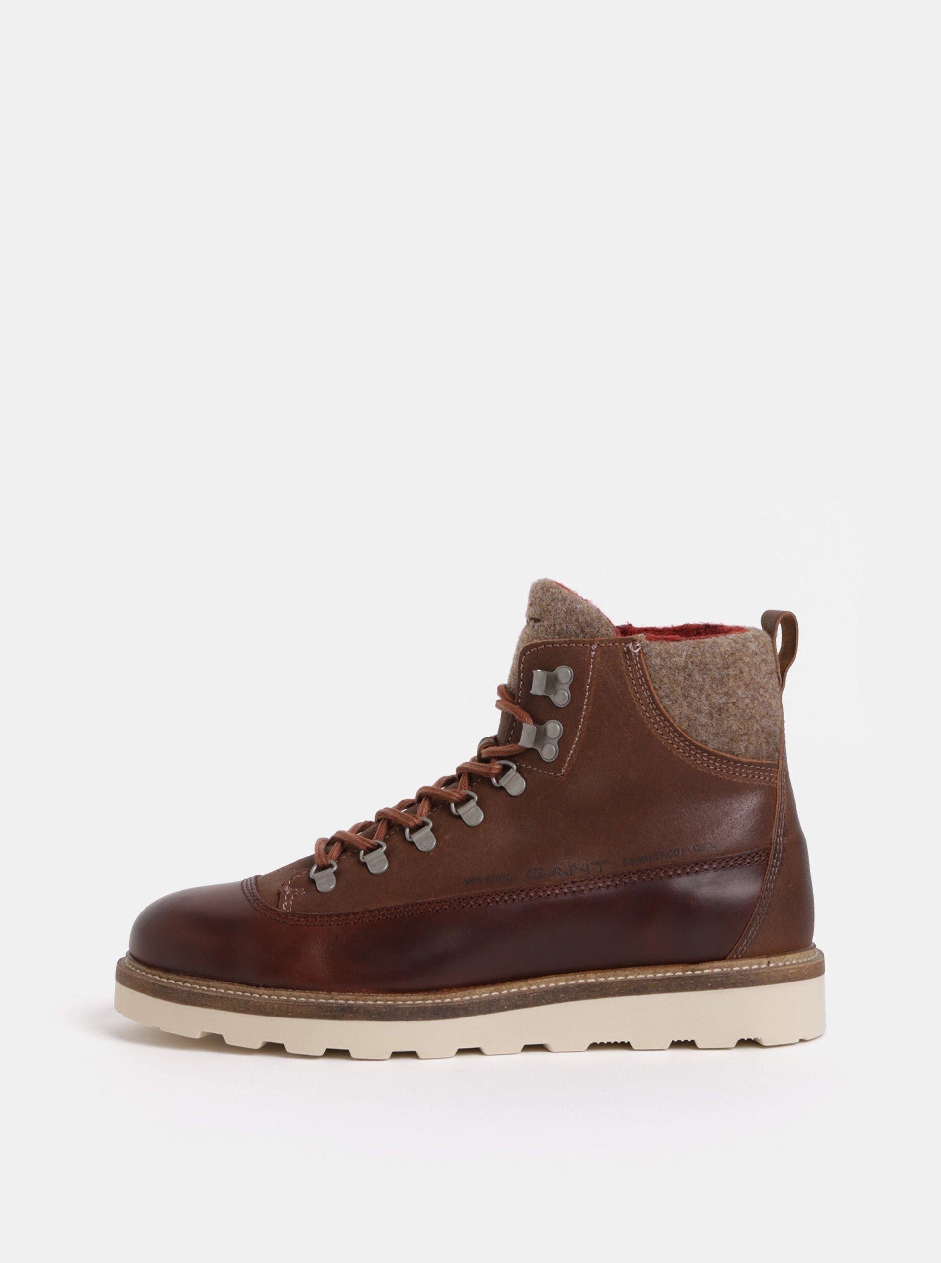 ae1159cbe231 Hnedé pánske kožené členkové zimné topánky GANT
