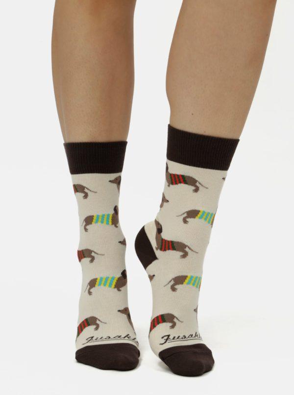 Hnedo–béžové unisex ponožky Fusakle Vencenie
