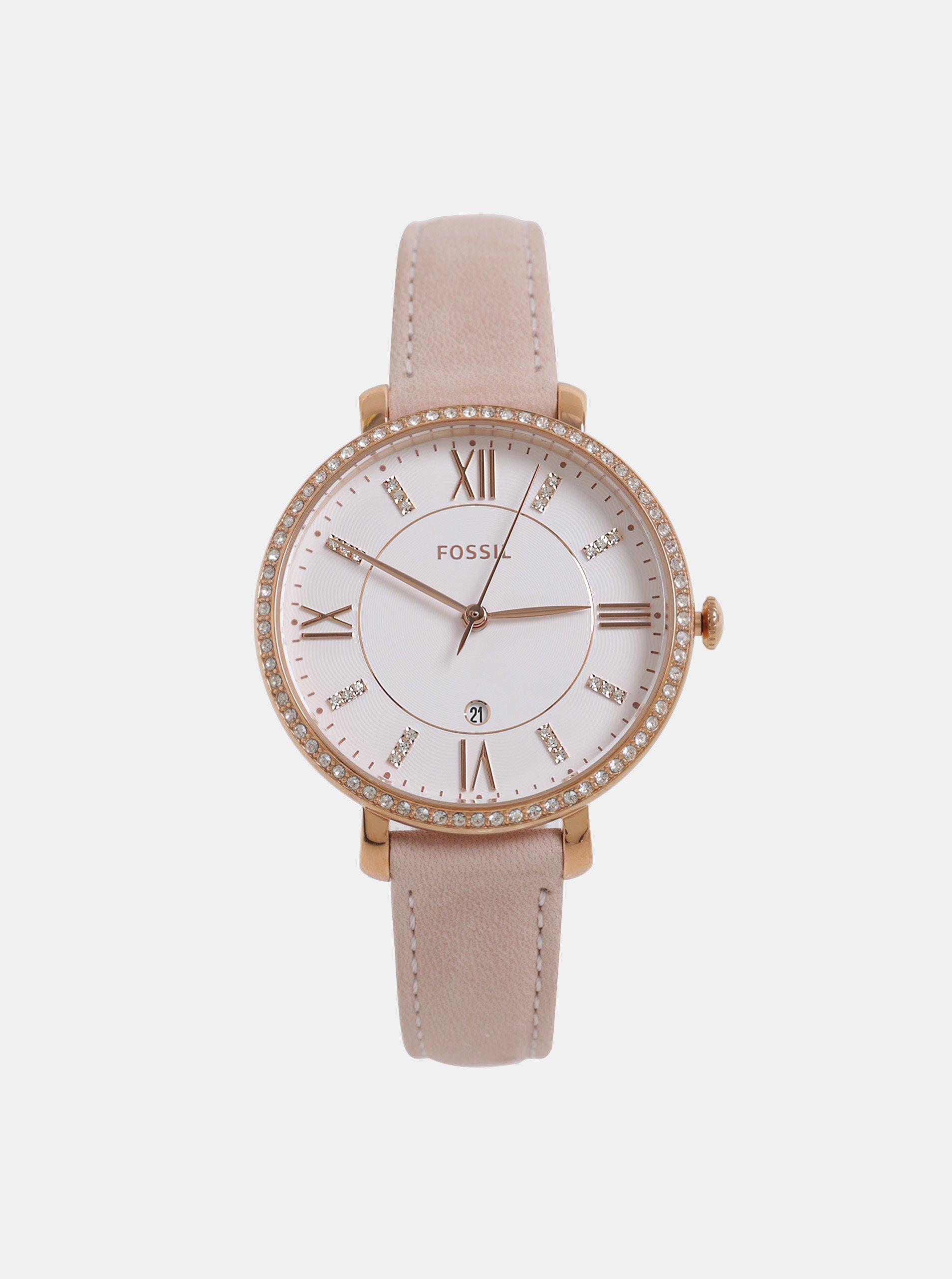 4463535ea Ružové dámske hodinky s koženým remienkom Fossil Jacqueline | Moda.sk