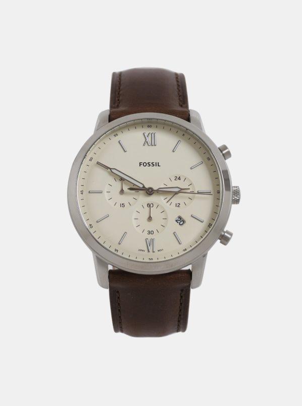 Hnedé pánske hodinky s koženým remienkom Fossil Neutra Chrono