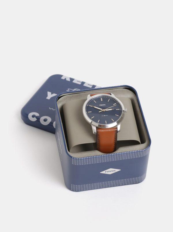 Hnedé pánske hodinky s koženým remienkom Fossil Minimalist