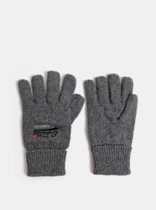Sivé pánske melírované rukavice s výšivkou Superdry