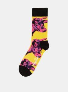 Ružovo–žlté unisex ponožky s motívom kravy Happy Socks Andy Warhol