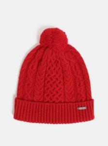Červená dámska vlnená čiapka s brmbolcom GANT