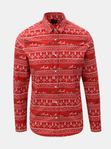 Červená slim fit košeľa s vianočným motívom ONLY & SONS Funny Christmas