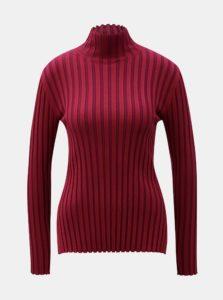 Vínový rebrovaný sveter French Connection