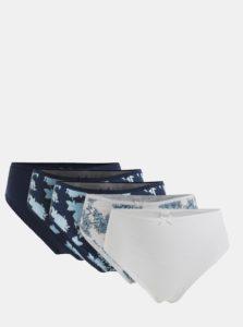 Balenie piatich nohavičiek v bielej a modrej farbe M&Co