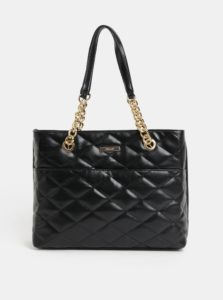 Čierna prešívaná kabelka s detailmi v zlatej farbe Hampton