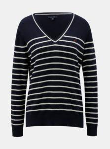 Krémovo–modrý pruhovaný tenký sveter Nautica