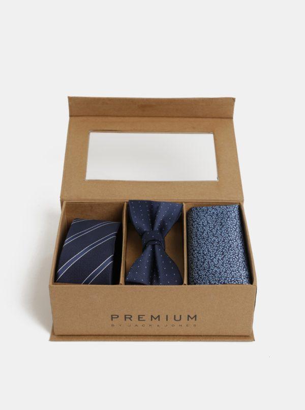 Darčeková kolekcia kravaty, motýlika a vreckovky v tmavomodrej farbe Jack & Jones Necktie