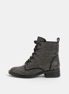 Čierne dámske členkové topánky s trblietavou aplikáciou ALDO Galolila
