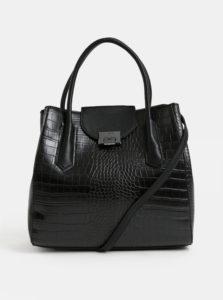 Čierna koženková kabelka s krokodílím vzorom ALDO