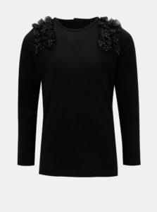Čierne dievčenské tričko s volánom Name it
