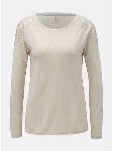 Béžové tričko s flitrami na ramenách ONLY Katie