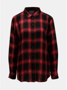 Čierno–červená károvaná košeľa s metalickým vláknom Jacqueline de Yong Frans