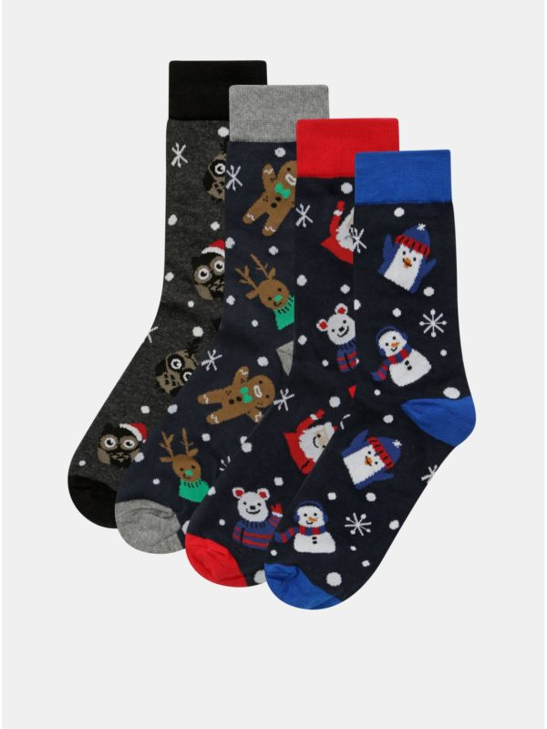Balenie štyroch párov ponožiek s vianočným motívom v tmavomodrej farbe Jack & Jones Franki