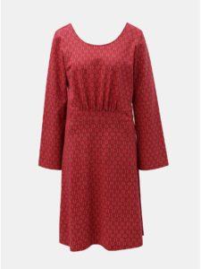 Červené šaty s motívom listov a výstrihom na chrbte Tranquillo Klio