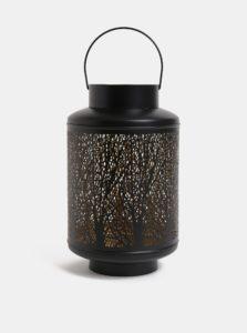 Čierny veľký kovový lampáš Dakls