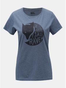 Modré dámske melírované tričko s potlačou Fjällräven Forever