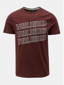 Hnedé tričko s potlačou ONLY & SONS Fore