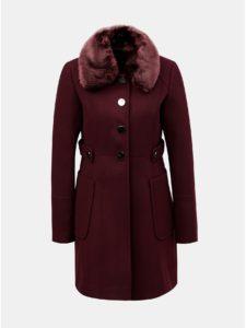 Vínový kabát s odnímateľnou umelou kožušinkou Dorothy Perkins