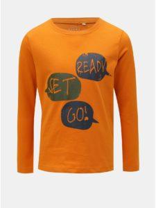 Oranžové chlapčenské tričko s potlačou Name it Victor