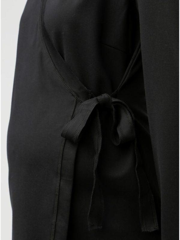Čierny zavinovací tehotenský top na dojčenie Mama.licious Kaja