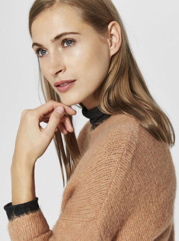 ee0e28c31a88 Hnedý sveter s prímesou vlny Selected Femme Regina
