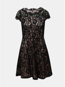 Ružovo–čierne čipkované šaty s krátkym rukávom VERO MODA Jackie