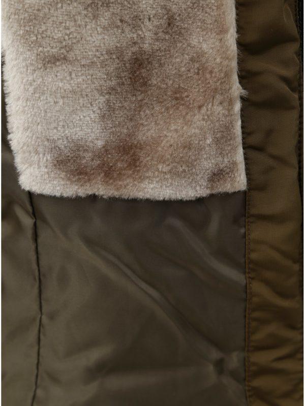 Kaki prešívaná zimná bunda s umelou kožušinkou ONLY Vigga  bb80a617c65