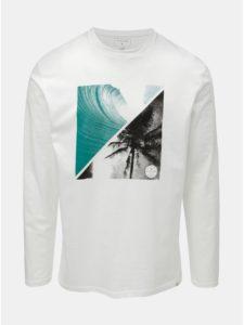 Biele pánske regular fit tričko s dlhým rukávom a potlačou Quiksilver Colon