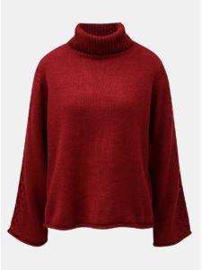 Vínový voľný sveter s rolákom Jacqueline de Yong Linky
